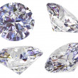 Stock Photo: Four view of diamond isolated on white