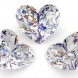 Three diamonds in the shape of heart — Stock Photo