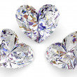 Stock Photo: Three diamonds in the shape of heart