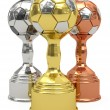 Three soccer trophies — 图库照片