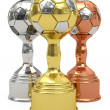 Three soccer trophies - Stock Photo