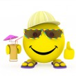 Happy face yellow ball in summer clothes — Stock Photo