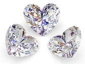 Drei diamanten in form von herzen — Stockfoto