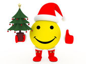 Happy face in Santa's costume — Stock Photo
