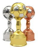 Three soccer trophies — Stock Photo