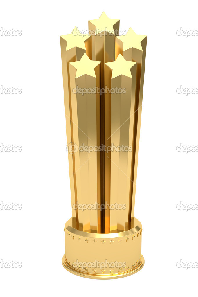 Golden stars prize on pedestal isolated on white. High resolution 3D