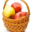 Apples and pears in the basket — Stock Photo