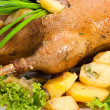 Goose baked with potatoes - Stock Photo