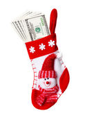 Christmas Stocking Stuffed with Money — Stok fotoğraf