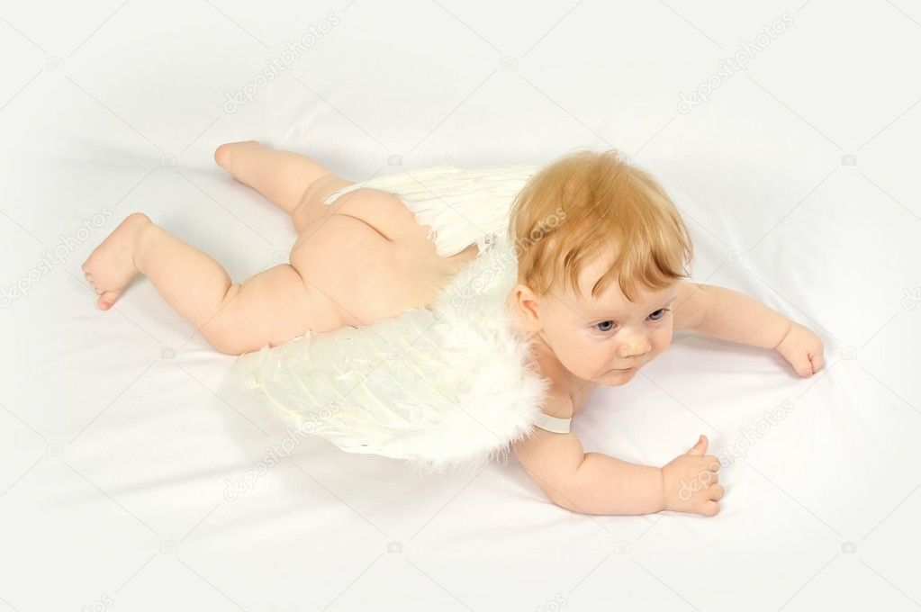 Flying baby angel with wings  Stock Photo #1509778