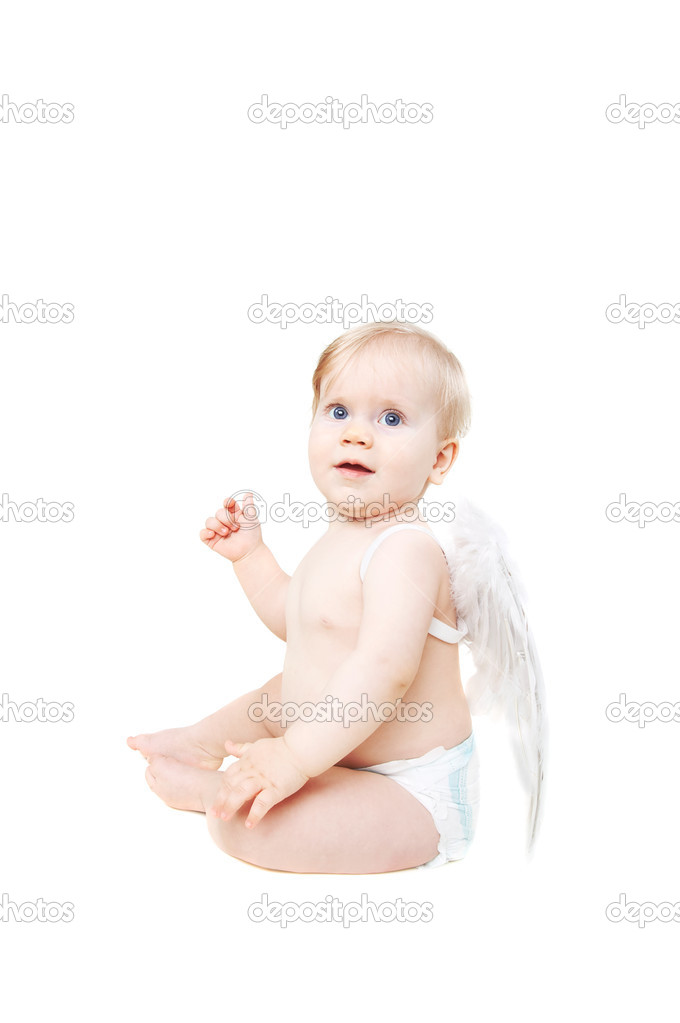 Adorable valentine baby angel isolated on white — Stock Photo #1935121