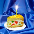 Piece of fruit jelly cake — Stock Photo