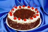 Chocolate cake with cherries — Stock Photo