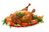 Roast chicken with vegetables — Stock Photo