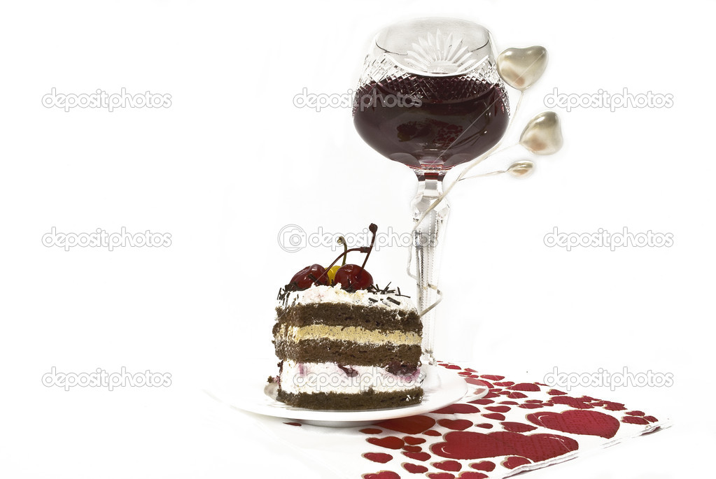 Romantic meal - wine and dessert, surrounded by hearts, isolated — Stock Photo #1504642