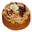 Cake with a rose, by a raisin by nuts — Stock Photo