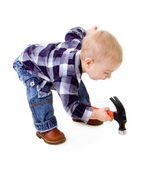 Child with a hammer — Stock Photo