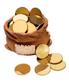 Bag of gold coins — Stock Photo