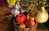 Rural still life with the basket of apples — Stock Photo
