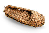 Old Russian braiding sandal made of bark — Stock Photo