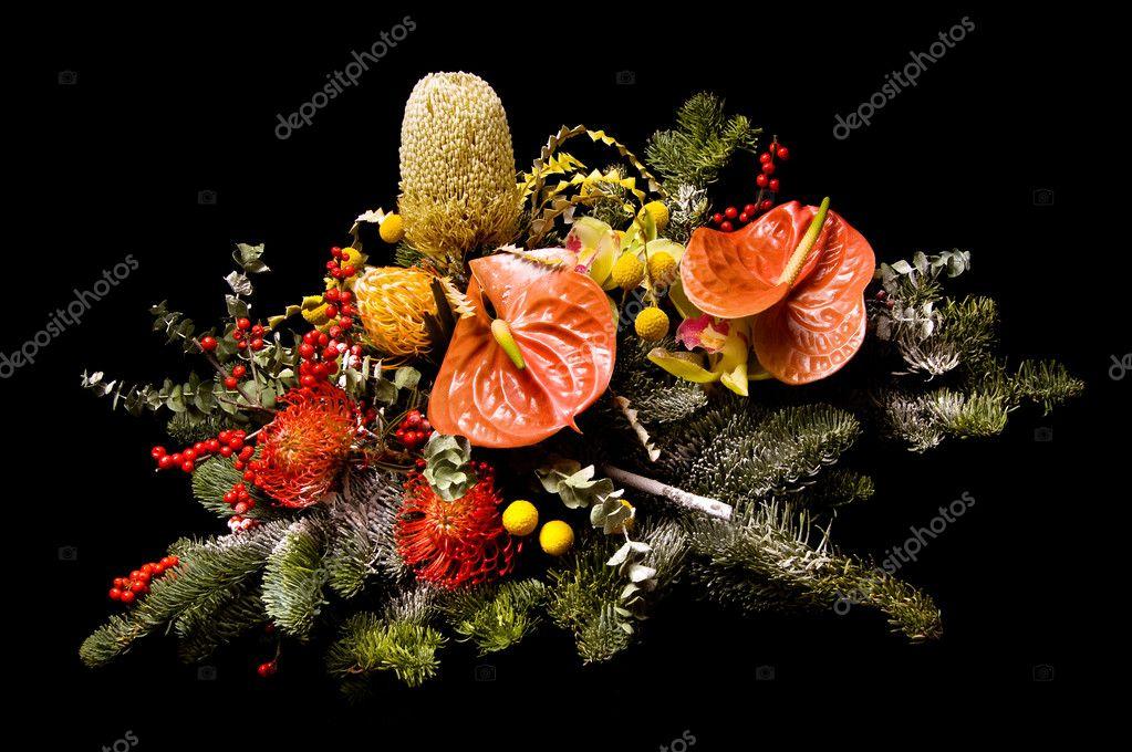 Flower arrangement on a black background — Photo by kruglovorda