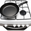 Frying pan at the gas stove — Stock Photo
