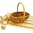 koš a bambusové rohože — Stock fotografie