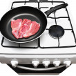 Stock Photo: Frying pwith raw meat