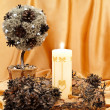 Decorative tree, wreath and candle — Stock Photo