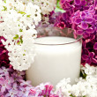 Lilac flower and milk — Stock Photo #1498785