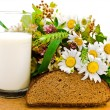 Stock Photo: Bread milk and camomile