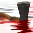 Axe with blood — Stock Photo