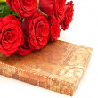 Red roses and gift - Stockfoto