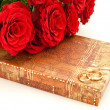 Red roses and gift — Stock Photo #1499069