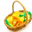 Wicker basket with egg — Stock Photo