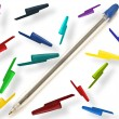 Pen with multicolored caps - Stock Photo