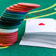 Chips and cards in casino — Stock Photo #1499827