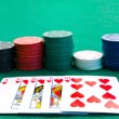 Chips stacks and playing cards — Stock Photo