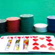 Chips stacks and playing cards — Stock Photo #1499847