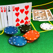 Cards and chips in casino — Stock Photo #1499850