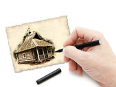 Pen in hand drawing old chapel — Stock Photo