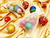 Christmas decorations with sacks — Stock Photo