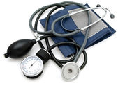 Photo of the sphygmomanometer with stethoscope against the white background — Stock Photo