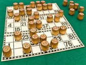 Photo of the bingo casks on the cards — Stock Photo
