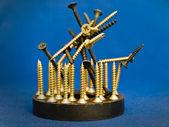 Screws at magnet — Stock Photo