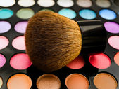 Eye shadows with brush — Stock Photo