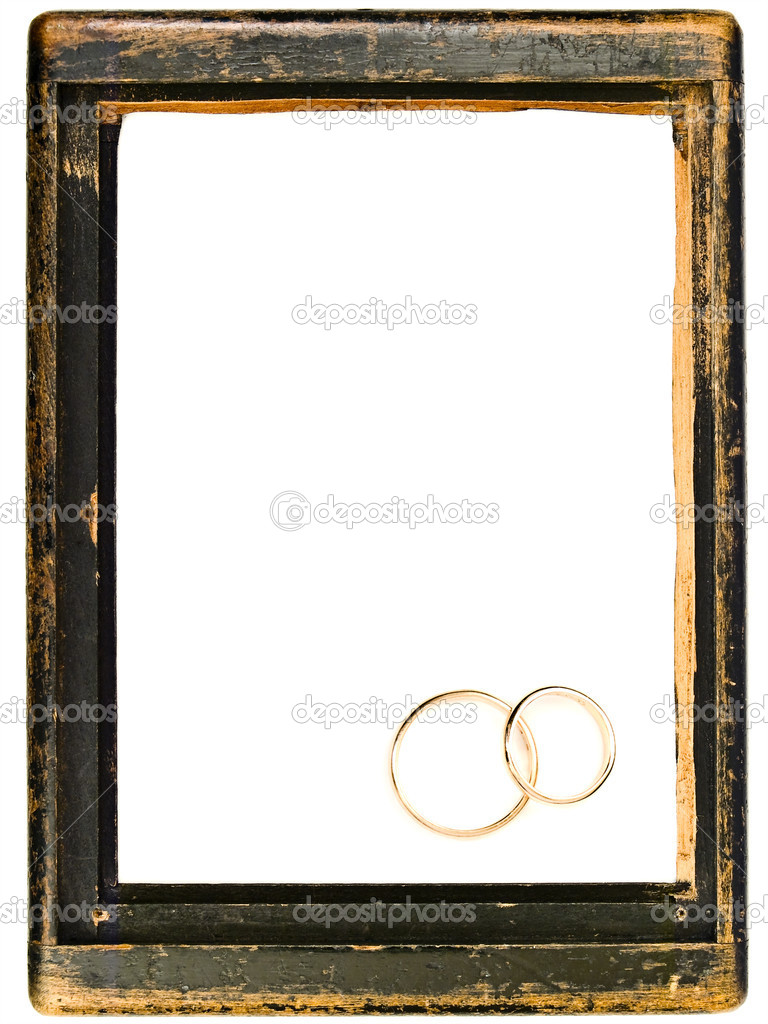 Vintage wooden frame and two wedding rings with copy space for your text  — Stock Photo #1497910