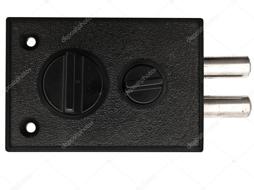 Photo of the metal black lock against the white background — Stock Photo #1498173