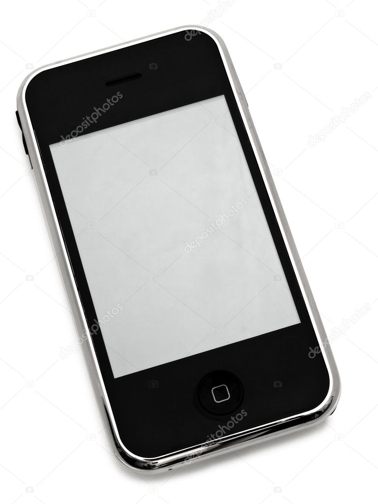 Mobile phone with blank screen over white — Stock Photo #1498223