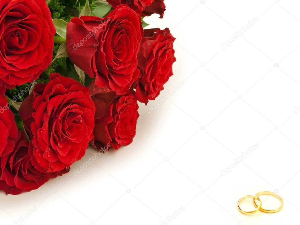 Red beautiful roses and golden wedding rings  Stock Photo #1499066